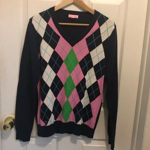 Lilly Pulitzer Argyle Sweater Cotton Large